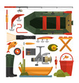 set of fishing equipment icons in flat vector image vector image