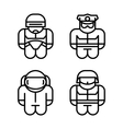 Set of toy Astronaut Robot Soldier Policeman vector image
