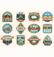 set summer camping badges patches vector image vector image