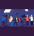 studio interview host journalist tv broadcasting vector image vector image