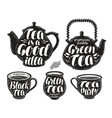 tea label set teapot cup hot drink icon or vector image vector image