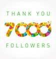 thank you 7000 followers color numbers vector image vector image