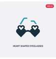 two color heart shaped eyeglasses icon from woman vector image
