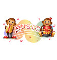 two monkeys with music notes in background vector image vector image