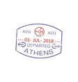 visa stamp departed from athens isolated post sign vector image vector image