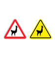 Warning sign attention Lama Hazard yellow sign vector image vector image