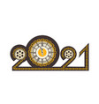 year digits 2021 mechanical logo vector image vector image