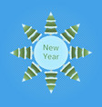 new year icon pine trees in snow over blue vector image