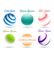 abstract 3d dot spheres logo set vector image