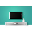 3d of led tv stand on a wooden vector image vector image