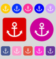 Anchor icon 12 colored buttons Flat design vector image