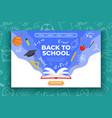back to school banner book basketball ball pen vector image vector image
