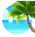 background palm tree and ship vector image vector image