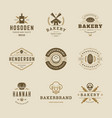 bakery goods logos and badges design templates set vector image vector image