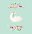 beautiful swans with water lilies vector image vector image
