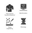 biotechnology glyph icons set bioengineering hifu vector image