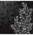 Black Background With Decorative Abstract Flowers vector image
