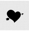 black silhouette of arrow through heart on vector image vector image