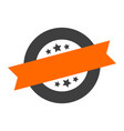 blank sign blank orange-black round ribbon sticker vector image vector image