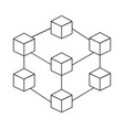 blockchain technology icon on white background vector image vector image