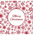 Bright red background with snowflakes vector image