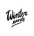 calligraphic brush lettering winter sport vector image vector image
