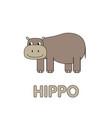 cartoon hippo flashcard for children vector image