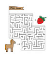cartoon horse maze game vector image