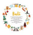 cartoon with bali landmarks symbols