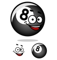 Cartooned eight pool ball with happy face vector image vector image