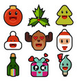 christmas emotions flat icons set vector image vector image