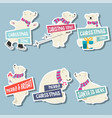 christmas stickers collection with polar bears vector image