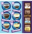 Coffee beverages types and preparation vector image vector image