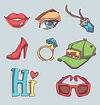 collection fashionable patch badges with lips vector image