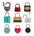 colored icon set padlocks vector image