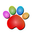 colorful print paw animal icon logo vector image vector image