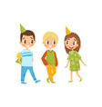 company of kids at birthday party cartoon vector image vector image