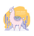 cute cartoon lama alpaca hand drawn vector image