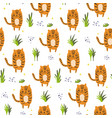 cute cartoon pattern with tigers and grass vector image vector image
