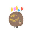 cute cartoon sheep with colorful balloons happy vector image vector image