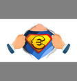 euro sign superhero open shirt with shield vector image vector image