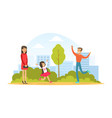 family walking in park outdoor cute little girl vector image