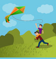 father son kite concept background cartoon style vector image vector image