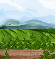 green fields watercolor background nature vector image