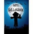 Halloween scarecrow at night vector image vector image
