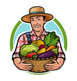 happy farmer holding a basket full of fresh vector image vector image