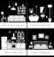 interior silhouettes of flat rooms vector image vector image