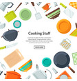 kitchen utensils flat icons background vector image