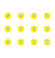 laser technology round yellow icons set vector image vector image