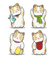 maneki neko japan cat set vector image vector image